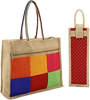 Asian Eco-Friendly Jute Bag-Reusable Tiffin/Shopping/Grocery Multipurpose Hand Bag with Zip & Handle for Men and Women(Pac...
