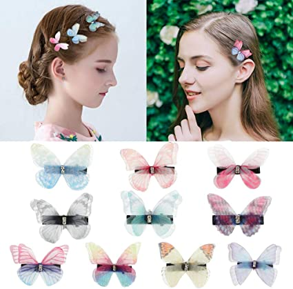 8 pcs Multi Colored Glitter Boutique Butterfly Hair Clips For Teens Toddlers Kids Children Accessory