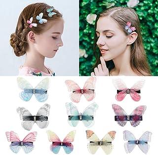 DEEKA 10 PCS Colorful Mesh Butterfly Hair Clips Realistic Fairy Handmade Glitter Barrette Set Hair Accessories for Women G...