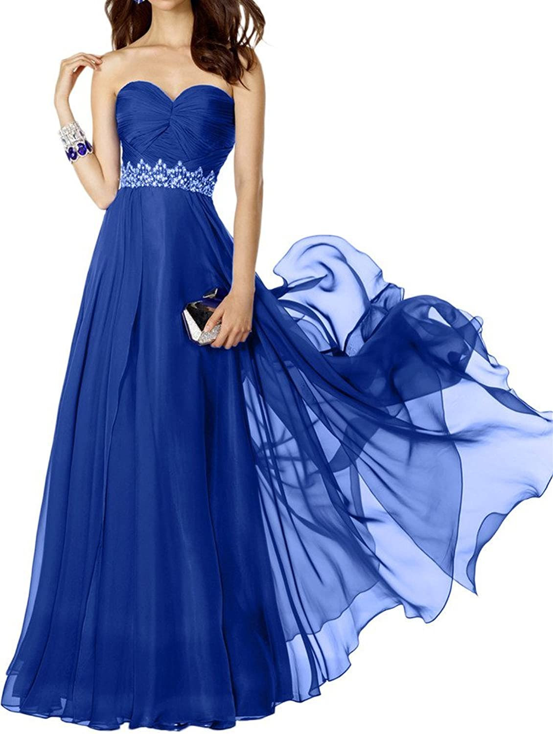 Avril Dress Beaded Belt Sweetheart Floor Length Pleated Bridesmaid Prom Dress