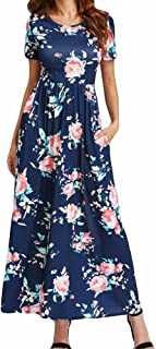 23ab75e545aee general3 Women s Floral Dress V Neck Dress Short Sleeve Floral Maxi Dress  Casual Long Dresses with