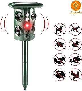 Repelente Ultrasónico, Repelente de Animales con 4 Parlantes y 2 luces Intermitentes, Batería Solar