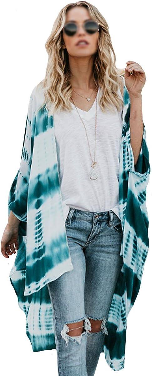 Goclothod Women Loose Chiffon Kimono Cardigan Floral Bikini Beachwear Cover Up