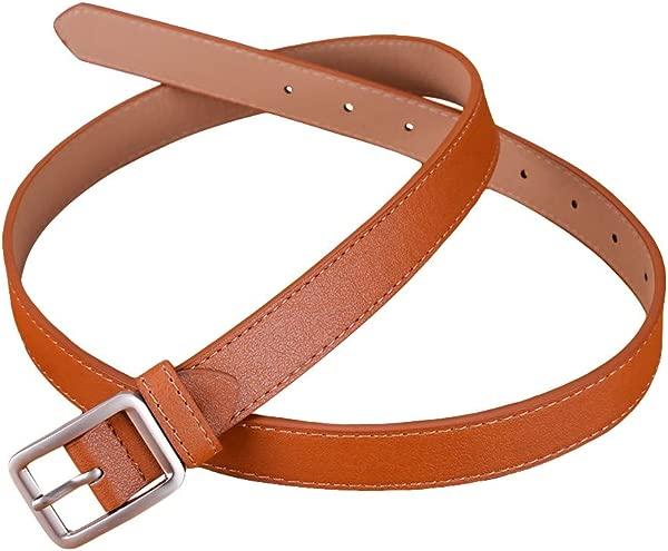 Lomsarsh Women Fashion Waist Belt Hollow Square Buckle Leather Belt For Pants Dress Jeans Waist Belt With Alloy Buckle Retro Vintage Leather Waist Belt Multicolor