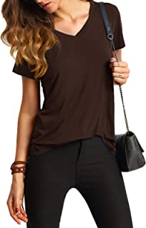 Women's V Neck Short Sleeve Casual T-Shirt