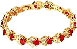 Women Birthstone Crystal Bracelet 18K Gold Plated Round Cut Cubic Zirconia Tennis Bracelet, Fit 6-8 Inches