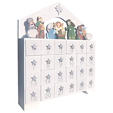 White Wooden Advent Calendar with Drawers, 24 Day Countdown to Christmas Advent Calendar   Premium Christmas Decor
