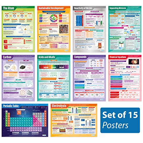 Chemistry Posters - Set of 15   Science Posters   Laminated Gloss Paper Measuring 33� x 23.5�   STEM Charts for The Classroom   Education Charts by Daydream Education
