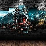 AWER Lienzos Cuadros Impresos Assassin's Creed Valhalla Juego Artística Imagen Gráfica Wall Art Panel Cuadros Modernos Decorativo para Tu Salón o Dormitorio 5 Piezas 150x80cm