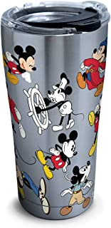 Tervis 1297811 Disney - Mickey Mouse 90th Birthday Stainless Steel Insulated Tumbler with Clear and Black Hammer Lid, 20oz, Silver