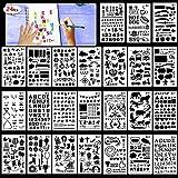 HOWAF 24 pezzi Numero Stencil Lallfabeti Lettere Stencil Riutilizzabile Stencil di Pittura Accessori per Disegno, Scrittura, Scrapbooking, L'Alcum Foto/ Decorazione da Parete, Regalo per Bambini