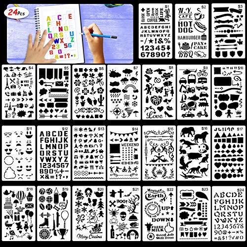 Konsait HOWAF Schablonen Set, Buchstaben- und Zahlenschablonen, 24 Stück Zeichen schablonen für Kinder malen, Bullet Journal, Scrapbooking, Fotoalbum, Gästebuch, DIY Geschenkkarten