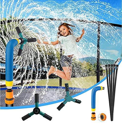 Aspersor de trampolín para niños, boquilla de rotación de 360 grados, aspersor de trampolín para parque acuático, accesorios para trampolín al aire libre, parque acuático de verano para niños