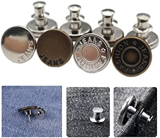 YaHoGa 8PCS Instant Buttons Jean Buttons Removable Button No Sew Buttons for Pants Jeans Sewing Crafts DIY Clothes (17mm)