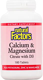 Natural Factors, Calcium & Magnesium, Helps Maintain Strong Bones and Teeth with Vitamin D3 and Magnesium, 180 tablets (180 servings)