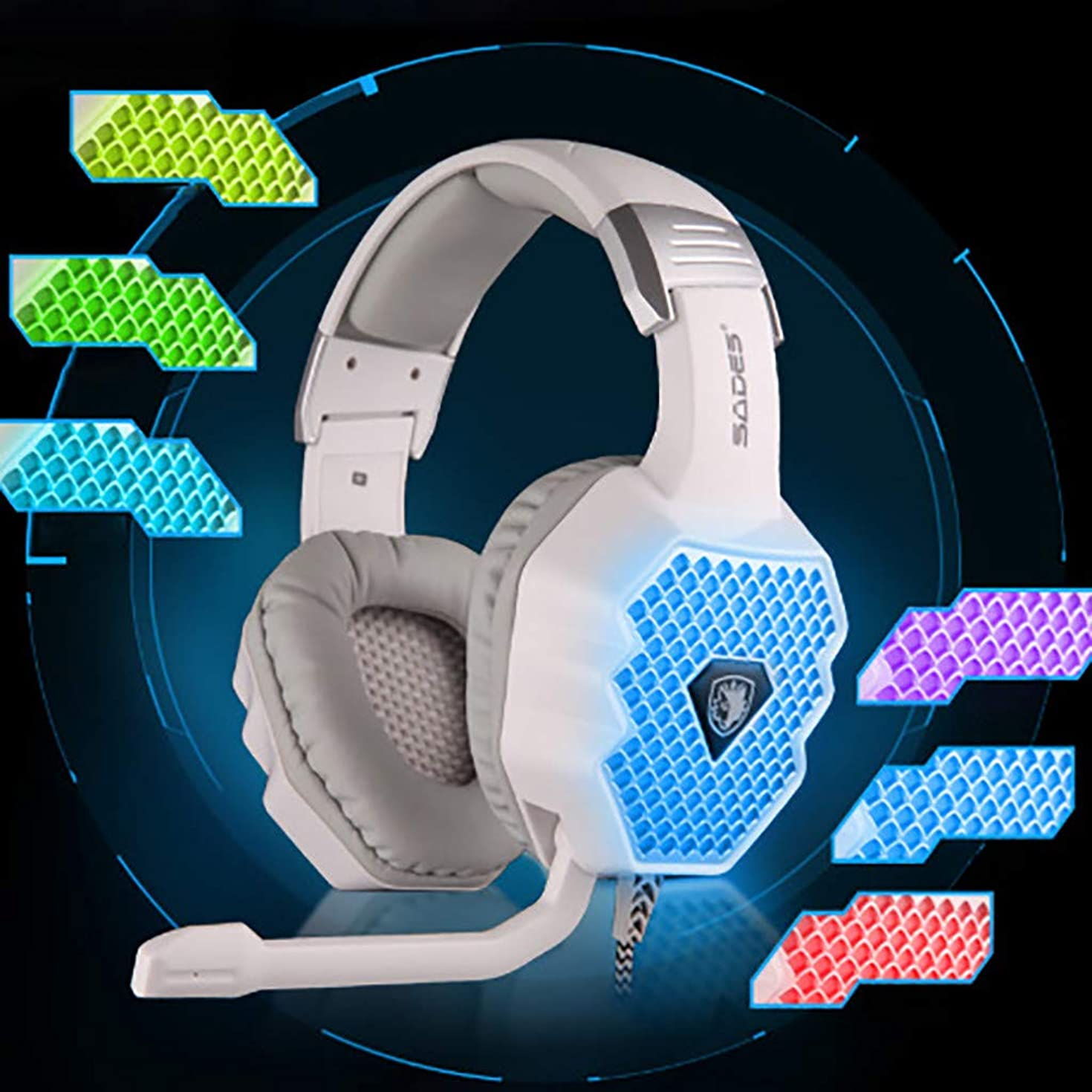 Lljin SADES A70 Breathing Lamp Computer Game Wired Headset Microphone USB7.1 Headphone
