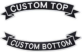 Personalized Iron On Patch Embroidered Full Vest Biker Patch Set Top & Bottom Rockers Patch Name Tag Banner Style-2 PCS (L-12''X1.5'')