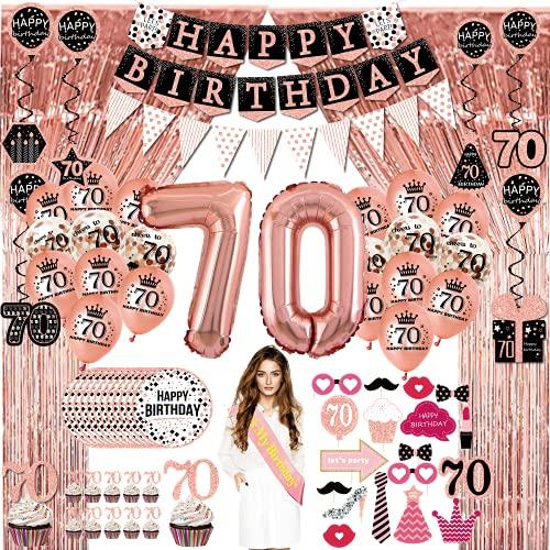 70 Ans femme Décoration Fête Anniversaire -(76 pack) bannières rose, fanions, guirlandes, ballons, rideaux,cupcake,accessoires photo