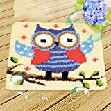 Hecho A Mano De Alfombras Bordado Hecho A Mano Set DIY Latch Hook Kit Rug Making Crafts for Kids/Adults,Owl,45x45cm/17.7x17.7inch