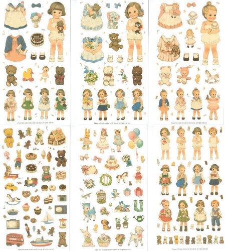 Afrocat Transparent Sticker Set 6 Bogen - Puppen mit viel Zubehör - Papierpuppe Anziehpuppe Ausschneidepuppe Aufkleber Scrapbooking - Kartengestaltung