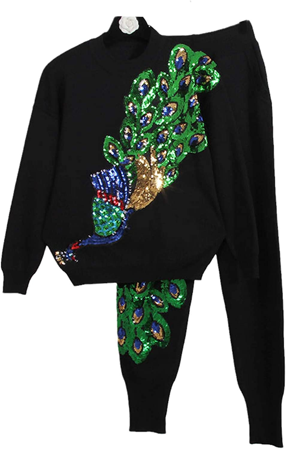 Knitted Tracksuit Set Women Handwork Peacock Fees free!! Sweater Purchase Lon Sequins