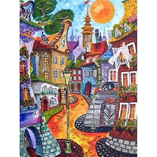 Kits de pintura de paisaje de casa abstracta por números para adultos Pintura al óleo de bricolaje por número Decoración moderna para el hogar Cuadro de arte de pared A6 40x50cm