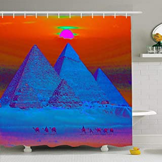 Ahawoso Shower Curtain Set with Hooks 72x72 Blue Pyramids Sunset Egyptian Maxfield Sky Parrish Africa Colorful Red Architecture Cairo Egypt Waterproof Polyester Fabric Bath Decor for Bathroom