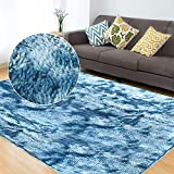 GOSEEK Area Rugs Fluffy Soft Fur Carpets for Bedroom Living Room Kids Nursery Dorm Room Cozy Furry Plush Throw Rug Shaggy Decorative Rug for Home Floor Carpet Decor (Dark Blue, 2.6x5.3 Ft)