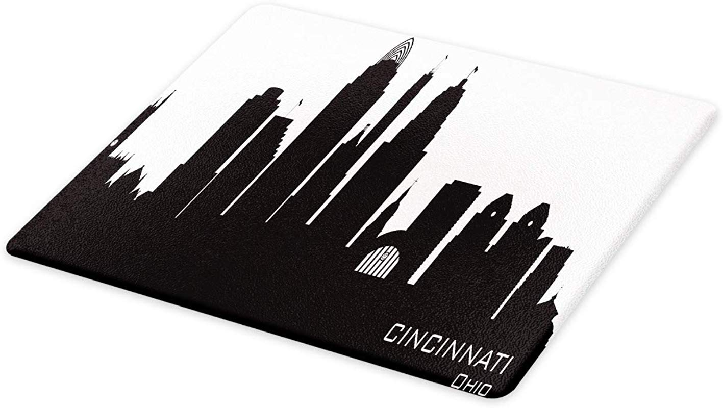 Ambesonne Cincinnati Cutting Board Details Towers Modern Outline Panorama Downtown Skyline Shady Contour Decorative Tempered Glass Cutting And Serving Board Large Size Charcoal Grey White