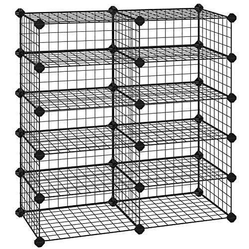SONGMICS Shoe Rack, Rectangular Cube Organizer, Modular Storage Shelf Unit, 15.7 x 11.8 x 6.7 Inches for Each Compartment, Metal Wire Interlocking Wardrobe, for Entryway Closet, Black ULPI25H