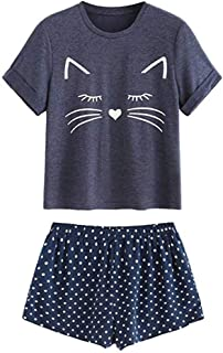 Women's Pajamas Set,Cute Short Sleeve Cat Print Top and Shorts Soft Pajama Set