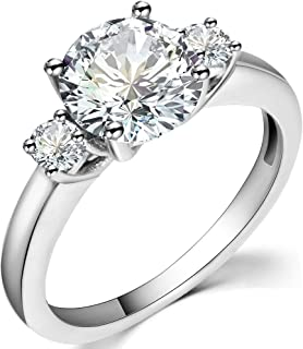 Jude Jewelers Stainless Steel Round Cut Three Stone Wedding Engagement Anniversary Promise Ring
