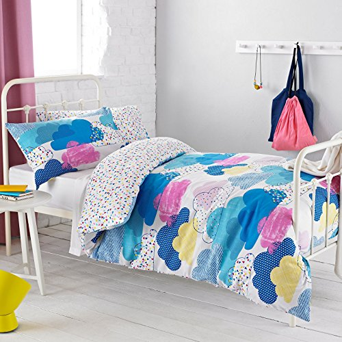 Textile Warehouse Clouds Pink Blue White Girls Kids Childrens Duvet Quilt Cover Bedding Set Single