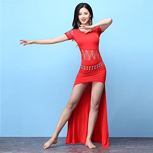 Xueyanwei Lady Professional Belly Dance Costumes Danse Indienne Robe Compétition De Danse Exercice VêteHommests Robe De Perforhommece,rouge,M