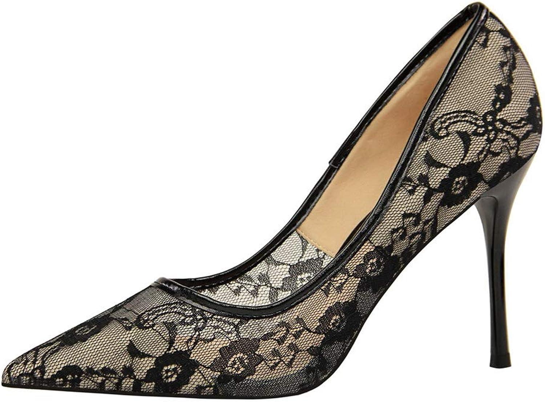 Womens Heel Stiletto Sandals Stiletto high Heel Shallow Mouth Pointed mesh Openwork lace