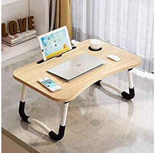 Bed Sofa Tray Folding and Portable Laptop Desk- 24 Inch - Beige | Standing Coffee Table Desk, Lazy Laptop Desk, For Eatin...