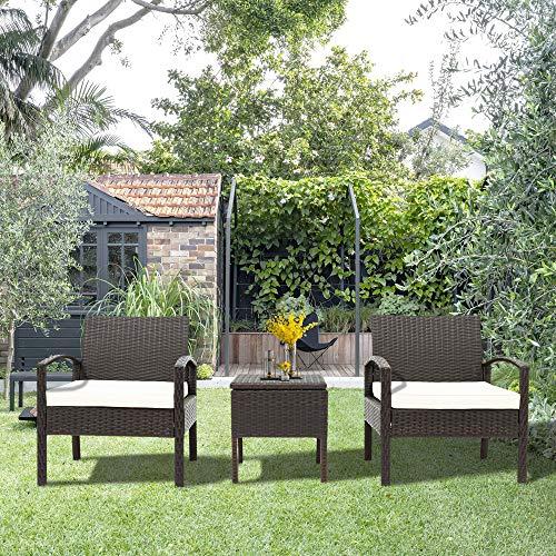 LIFE CARVER Polyrattan Balkonmöbel Set 2 Personen–1 Tisch & 2 Sessel–Wetterfeste Gartenmöbel Set–für Garten, Balkon & Terrasse–inkl. Sitzkissen–Braun
