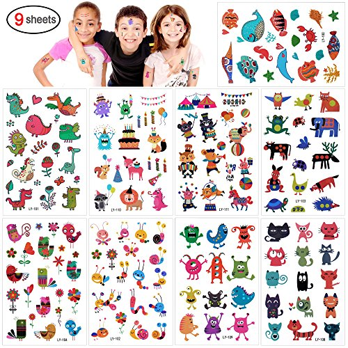 Tatuajes Temporales Para Niños Niñas, Konsait 160pcs dibujos animados animal Tatuaje Falso...