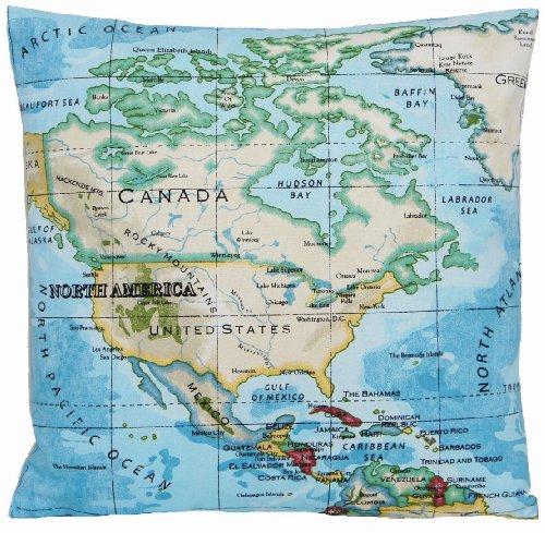 Carte Bleu Housse de coussin en tissu imprimé coton oreiller du monde (avec inscription Atlas nautique
