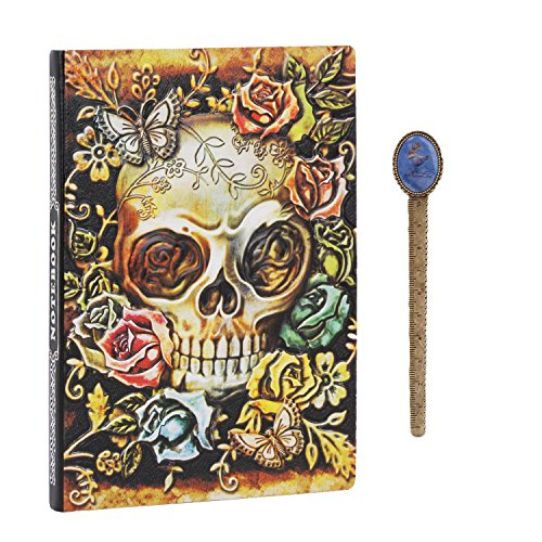 Embossed Skull Head PU Leather Notebook A5 Vintage Travel Journal to Write in, Beige Kraft Lined Paper,100 Sheets,Personal Ruled Diary Journal Notebook With Bookmark, School Office Stationery Gift