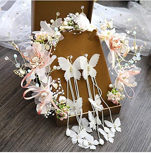 Fairy flower headdress women butterfly hairbands wedding bride garland (Metal color : Garland earrings)