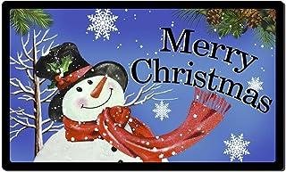 Rubber Welcome Door Mat, Decorative Indoor Outdoor Christmas Doormat Non Slip Front Door Mat, Easy to Clean Low Profile Ma...