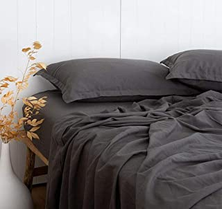 New! Utral Comfortable Linen Look 55% Bamboo 45% Cotton Grey Bed Sheets Set Full Size, Cool & Moisture Wicking, Breathable and Durable, Naturally Organic Bedding, Fitted & Flat Sheets Deep Pocket 16