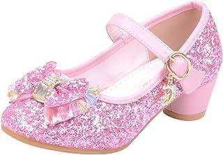 Mitlfuny Zapatos de Tango Latino para Niños Vestir Fiesta Arco Princesa Sandalias Perla Rhinestone Lentejuelas Zapatitos d...