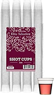 Elite Selection Shot Glasses | 1 Oz. Clear Plastic Disposable Cups | Perfect Party Shot Cups for Shots, Tasting, Sauce, Di...