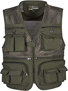 Mens Mesh Outdoor Fishing Vest with 16 Pockets Hunting Travel Activities