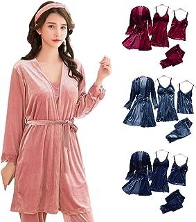 ad463d8cf323b WSDF Ensemble Pyjama pour Femme, 4 pièces en Velours doré, Chaud et  Confortable,
