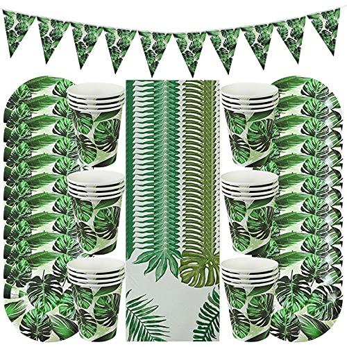 BOINN 61 Piezas Hawaiano Luau DecoracióN de Fiesta Hoja de Palma Vajilla Plato de Papel Taza Tropical Verano Fiesta de CumpleaaOs DecoracióN de Boda