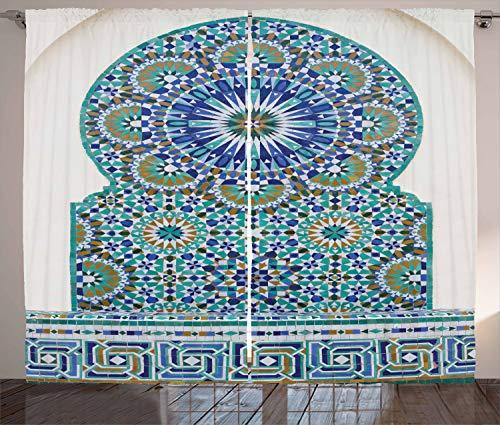 ABAKUHAUS marokkanisch Rustikaler Vorhang, Ostkeramikfliese, Wohnzimmer Universalband Gardinen mit Schlaufen und Haken, 280 x 225 cm, Blauer Türkis Pale Coffee