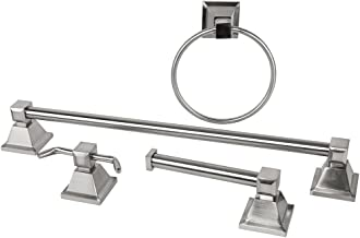 Rondo Bathroom Accessories Set in Chrome: Towel Rail + Toilet Roll Holder + Robe Hook + Towel Ring